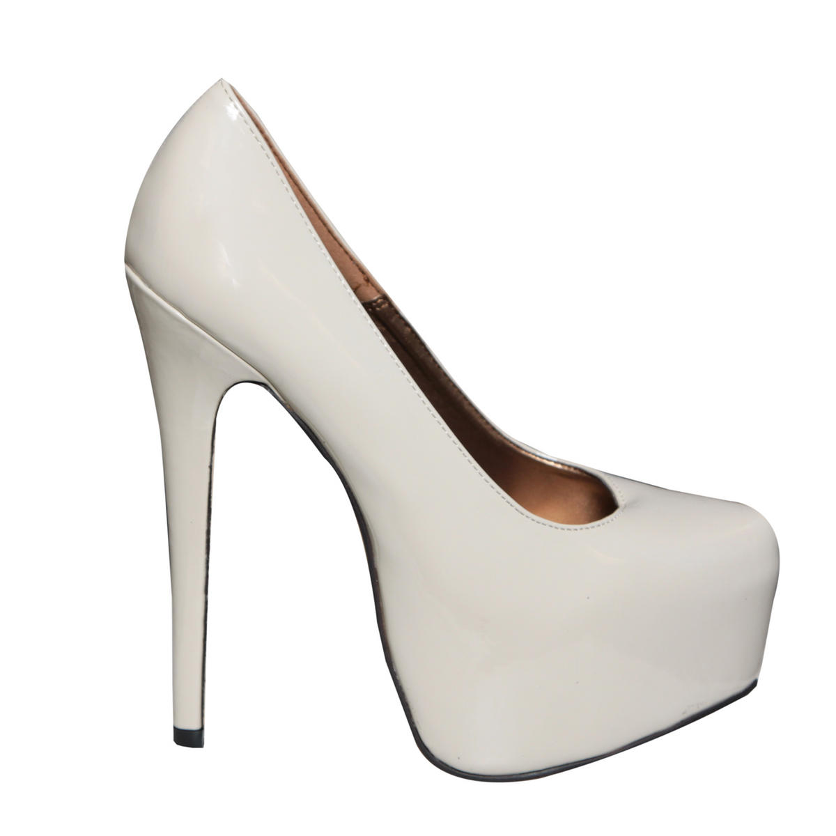 SIZE 4 ONLY Cream Patent Platform Shoe Preview